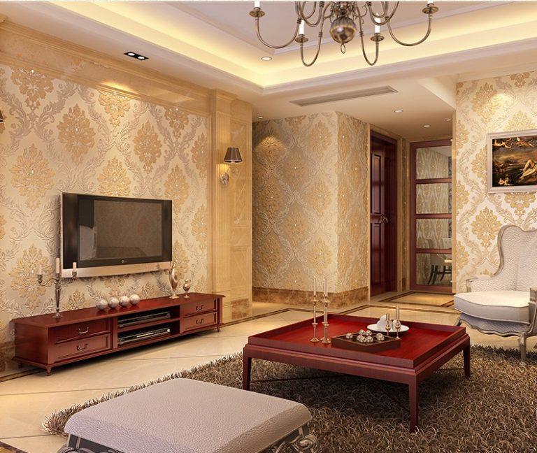 Giấy dán tường lá cây dập nổi cổ điển phòng khách - 3D005