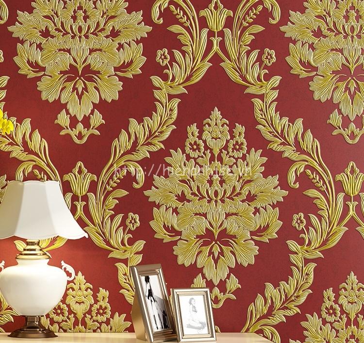 Giấy dán tường phòng khách tân cổ điển - 3D005