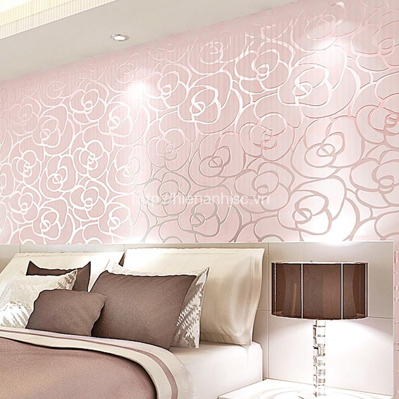 Giấy dán tường 3D - Họa tiết hoa hồng 3D009 hồng