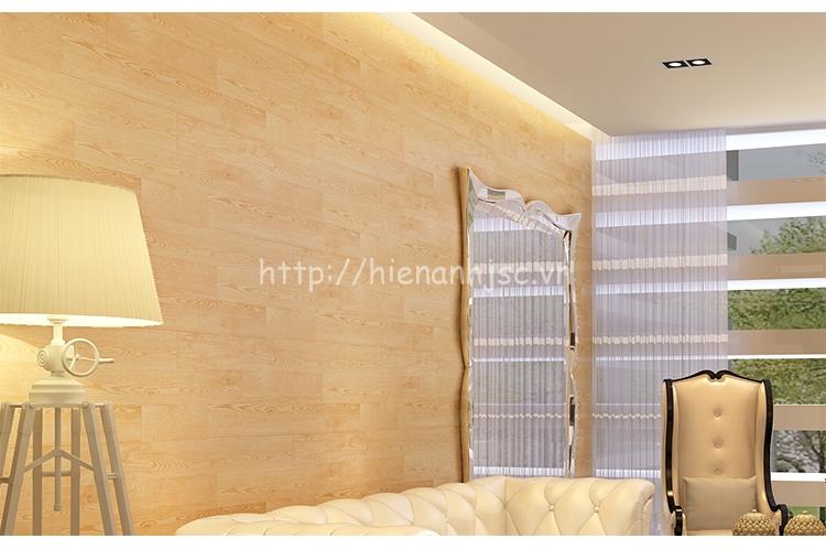 Giấy dán tường giả gỗ cao cấp cho phòng khách - 3D015