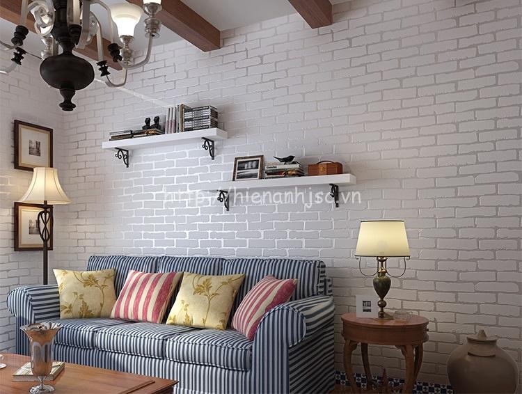 Giấy dán tường 3D - Họa Tiết Giả Gạch Hiện Đại 3D014 màu trắng