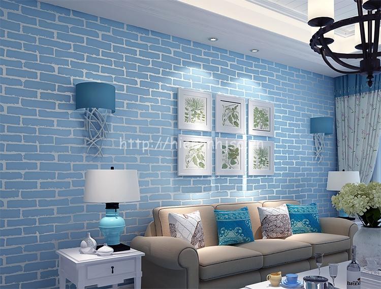 Giấy dán tường 3D - Họa Tiết Giả Gạch Hiện Đại 3D014 màu xanh