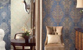 Không gian phòng khách đẹp với giấy dán tường 3D hoa văn cổ điển