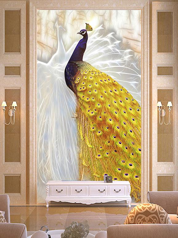 Tranh dán tường chim công 5D dán hành lang