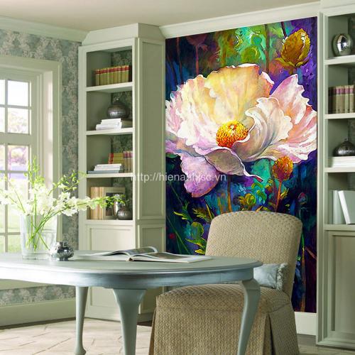 Tranh dán tường hoa anh túc 5D phòng khách