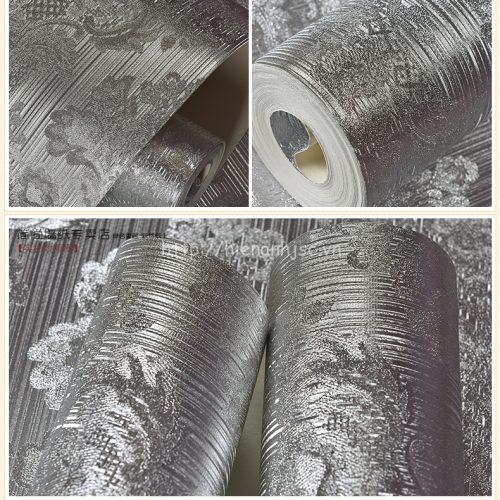 Giấy dán tường họa tiết ánh kim loại sang trọng phòng khách - 3D018