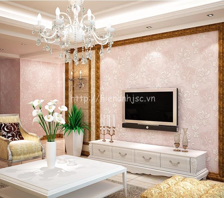 Giấy dán tường màu hồng nhạt cho phòng khách - 3D019