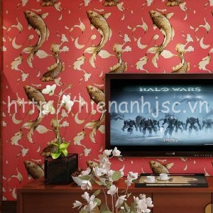 Giấy dán tường họa tiết cá chép phòng khách - 3D020