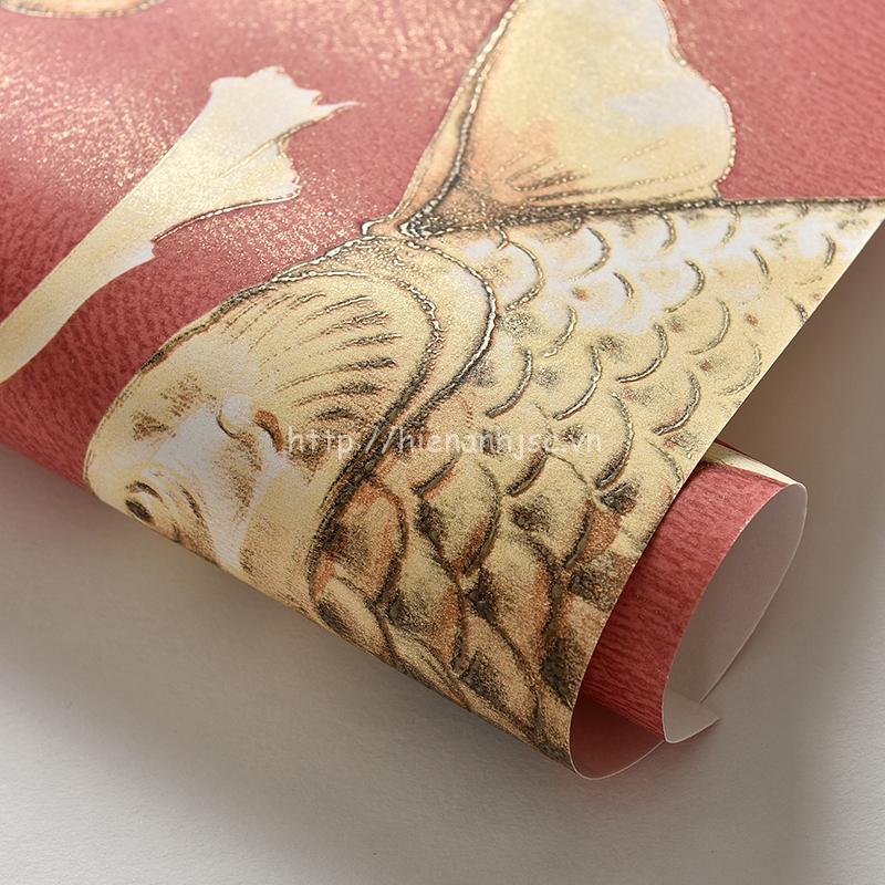 Giấy dán tường 3D họa tiết cá chép
