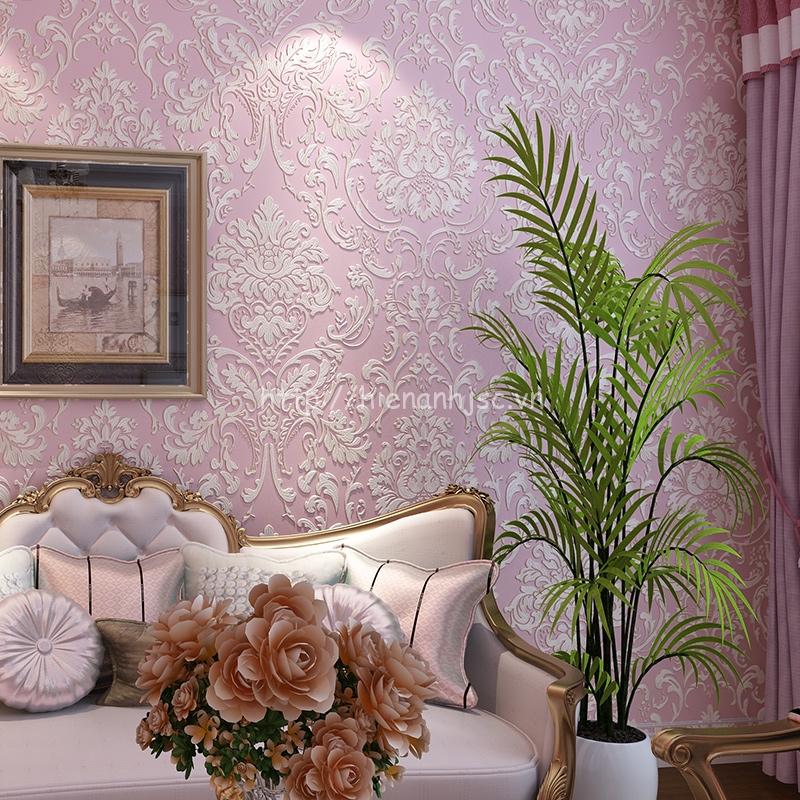 Giấy dán tường hoa cách điệu dập nổi sang trọng cho phòng khách - 3D023