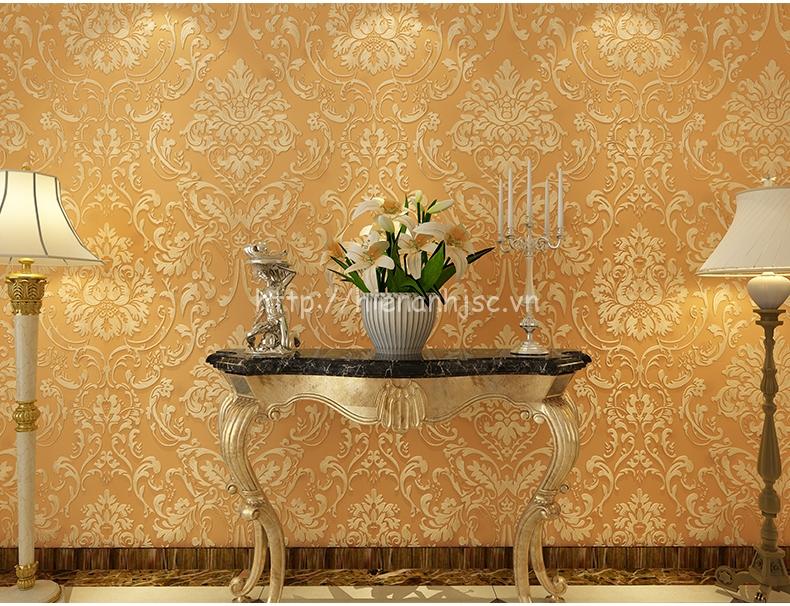 Giấy dán tường màu vàng họa tiết tân cổ điển - 3D023