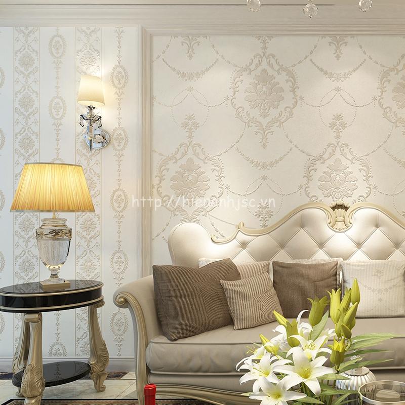 Giấy dán tường họa tiết dập nổi phòng khách tân cổ điển - 3D024