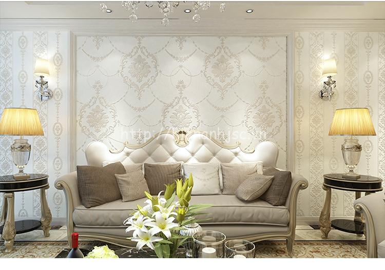 Giấy dán tường 3D màu trắng hoa văn dập nổi - 3D024