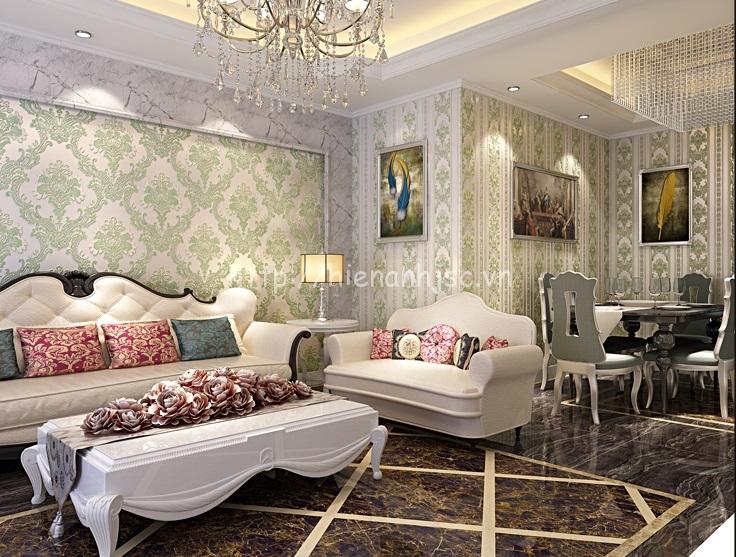 Giấy dán tường 3D phòng khách sang trọng và hiện đại