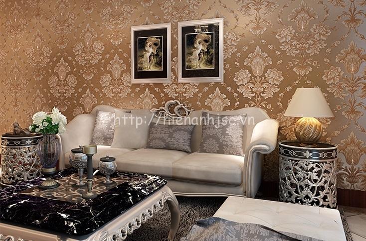 Giấy dán tường họa tiết cổ điển cho phòng khách - 3D026