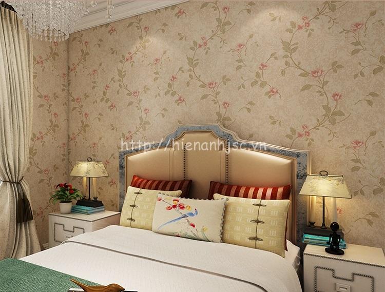 Giấy dán tường phòng ngủ 3D họa tiết hoa hồng