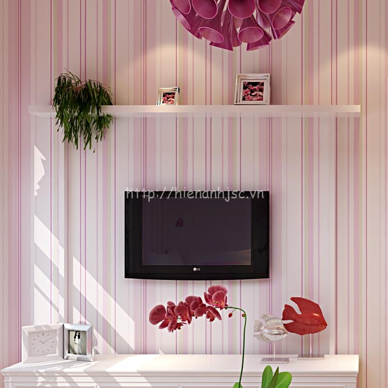 Giấy dán tường 3D - Họa tiết kẻ sọc 3D029 màu hồng