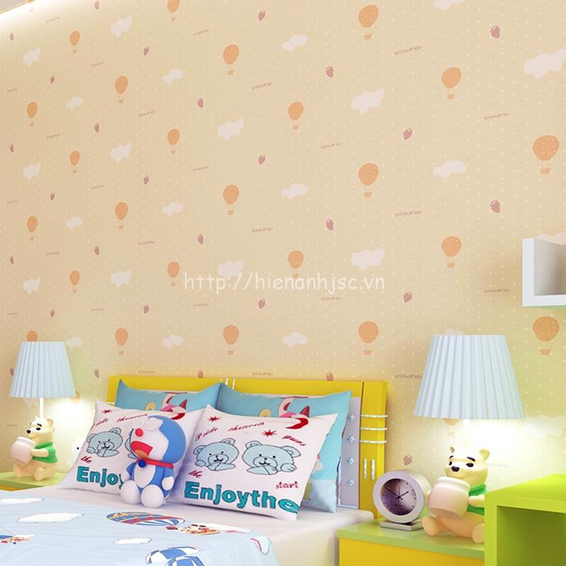 Giấy dán tường 3D - Họa tiết mây & khinh khí cầu cho bé 3D036 màu vàng