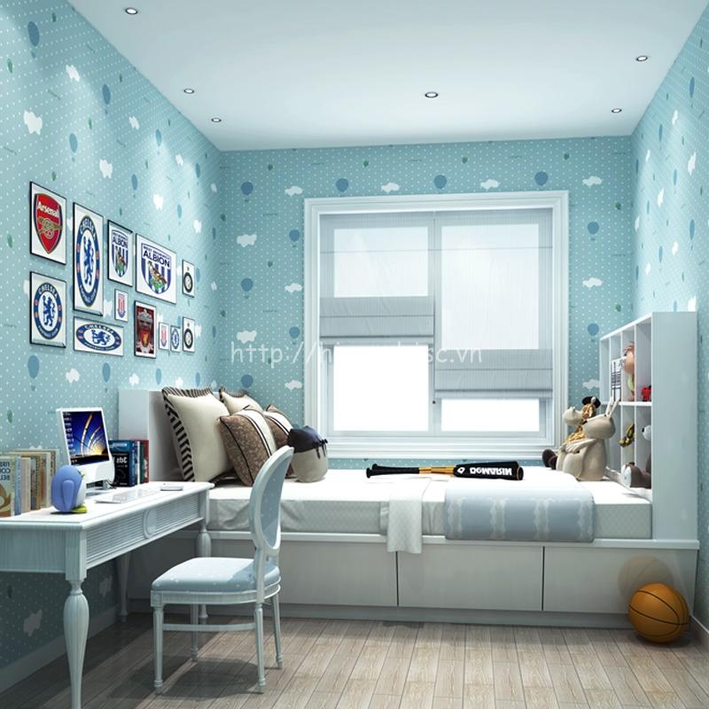 Giấy dán tường 3D - Họa tiết mây & khinh khí cầu cho bé 3D036 màu xanh