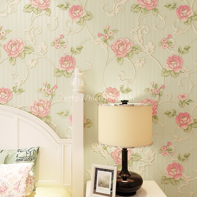 Vải dán tường dập nổi phòng ngủ cao cấp
