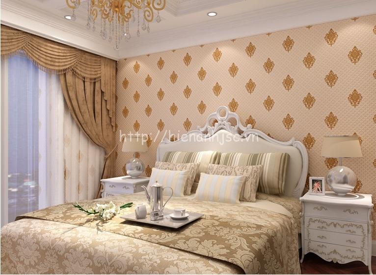 Giấy dán tường phòng ngủ 3D cách điệu đơn giản
