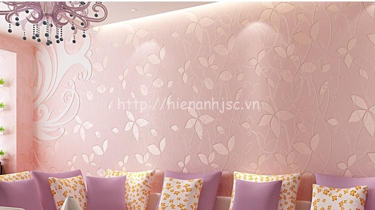 Giấy 3D dán tường màu hồng nhạt phòng khách - 3D042