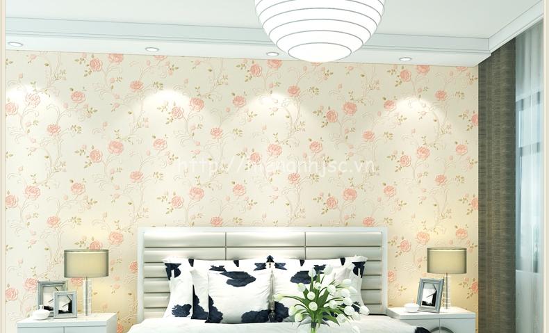 Giấy dán tường hoa hồng dập nổi cho phòng cưới đẹp - 3D044