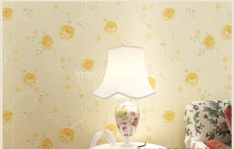 Giấy dán tường họa tiết hoa hồng màu vàng sang trọng - 3D044