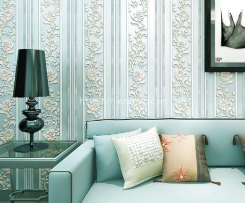 Giấy dán tường phòng khách kẻ sọc hoa - 3D046