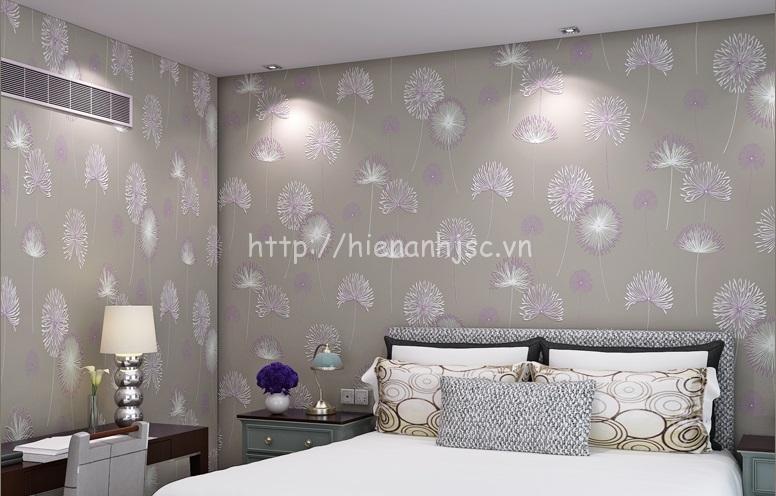 Giấy dán tường phòng ngủ họa tiết hoa cỏ may