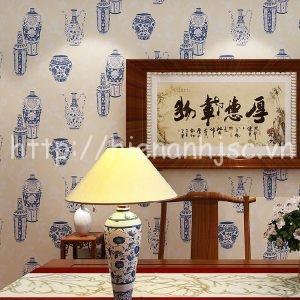 Giấy dán tường họa tiết bình cổ trung hoa - 3D049