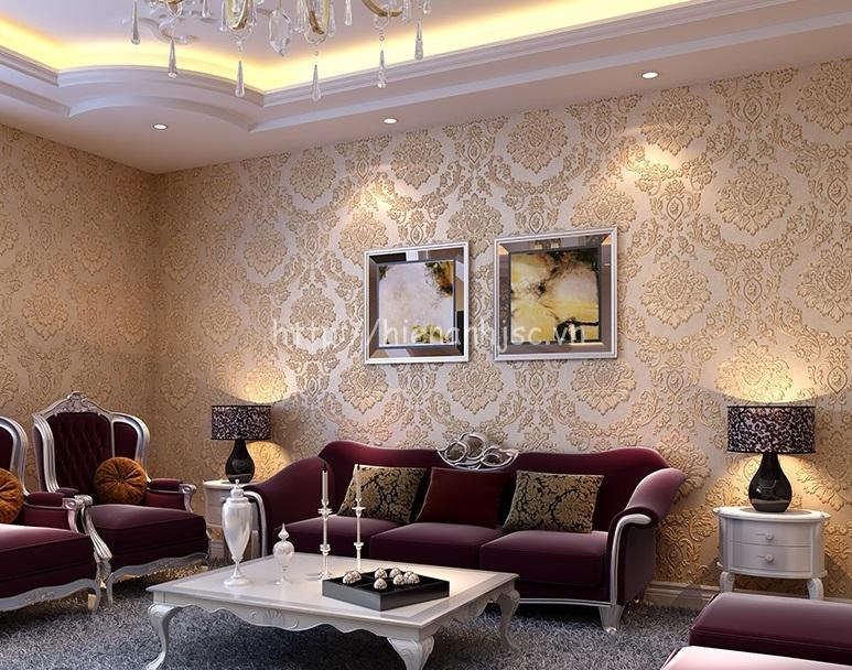 Giấy dán tường phòng khách tân cổ điển - 3D051