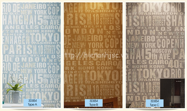 Mẫu giấy dán tường chữ tiếng anh trang trí phòng ngủ hiện đại - 3D054