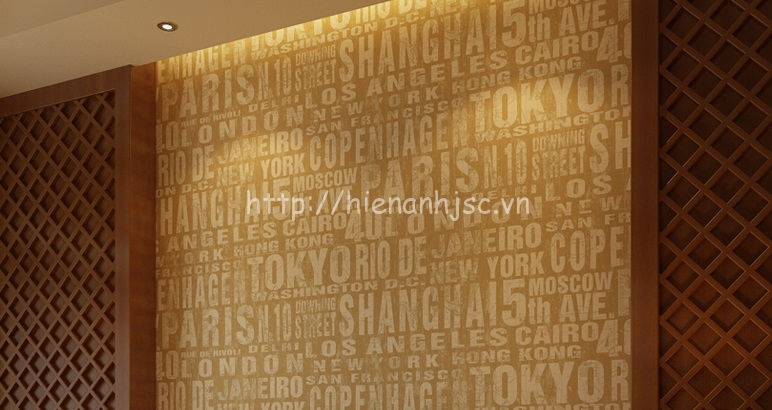 Giấy dán tường họa tiết tiếng anh cho phòng khách hiện đại - 3D054