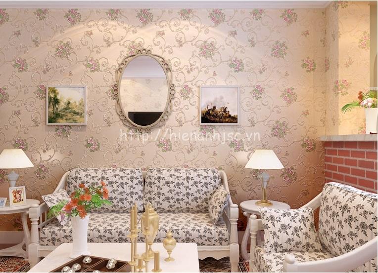 Giấy dán tường họa tiết dây leo hoa hồng tại Kiên Giang