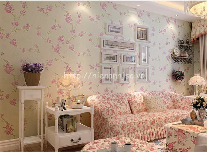 Giấy dán tường phòng khách họa tiết hoa anh đào - 3D059