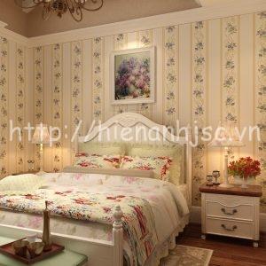 Giấy dán tường họa tiết hoa phong cách châu Âu