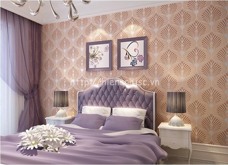 Giấy dán tường màu hồng nhạt cho phòng ngủ đẹp - 3D064