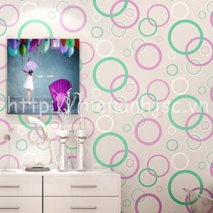 Giấy dán tường 3D họa tiết vòng tròn hiện đại - 3D065