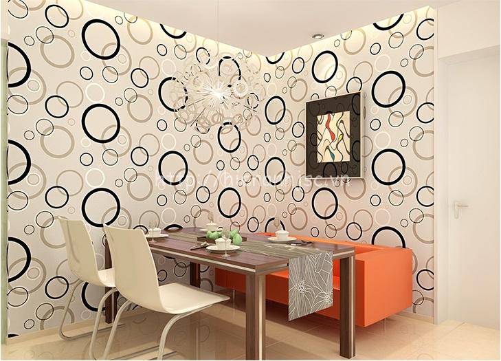 Giấy dán tường 3D dạng tròn cho người mệnh kim