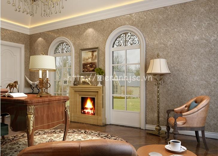 Giấy dán tường màu xám ghi trơn đơn giản phòng khách - 3D006