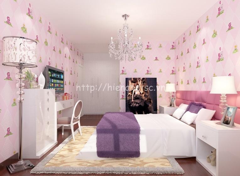 Giấy dán tường phòng ngủ nhỏ cho bé gái - 3D069