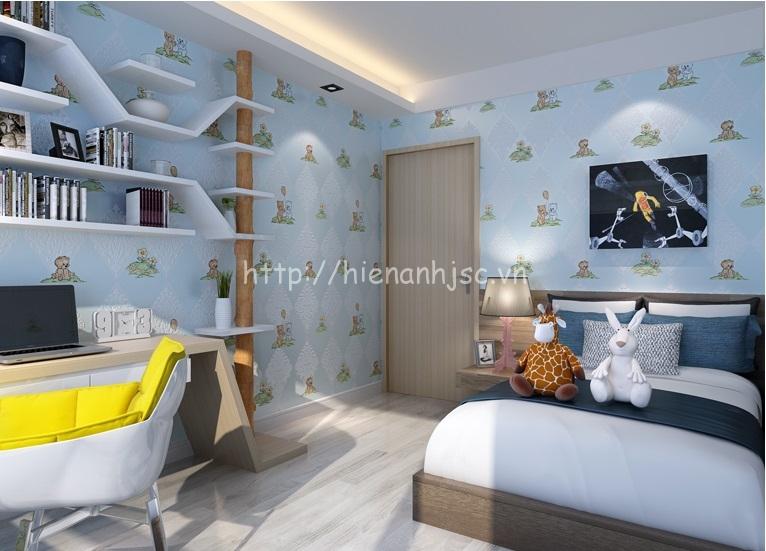 Giấy dán tường trang trí phòng ngủ nhỏ cho bé trai - 3D069