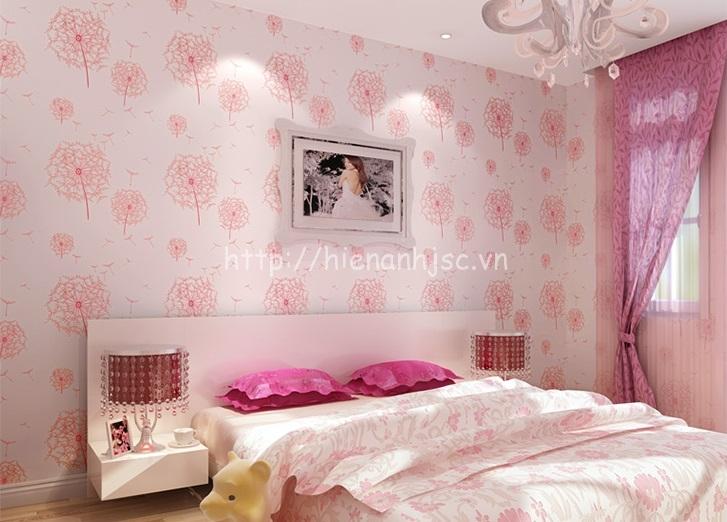 Giấy dán tường hoa bồ công anh màu hồng nhạt phòng ngủ vợ chồng - 3D070