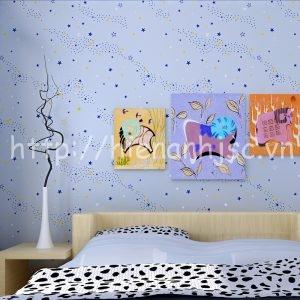 Giấy dán tường họa tiết hình sao cho bé - 3D071