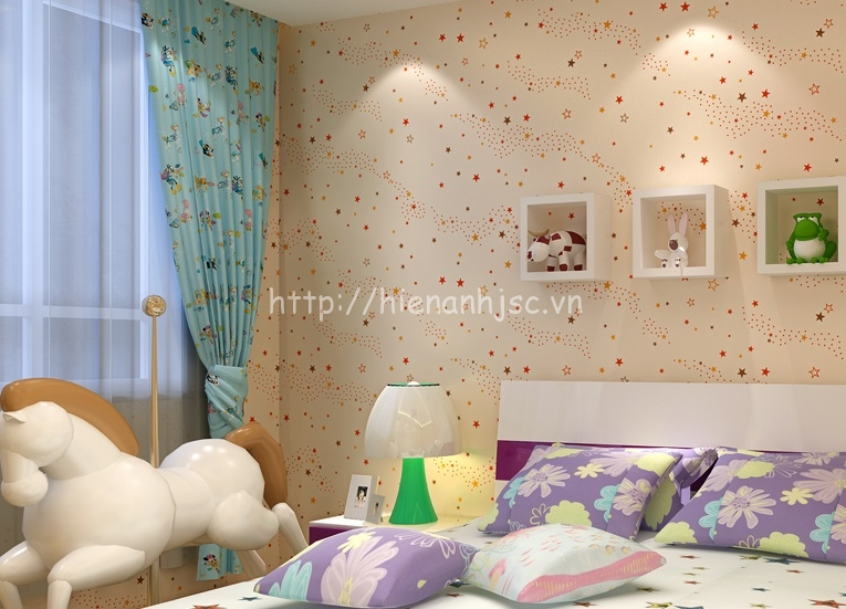 Giấy dán tường phòng ngủ trẻ em họa tiết trăng sao