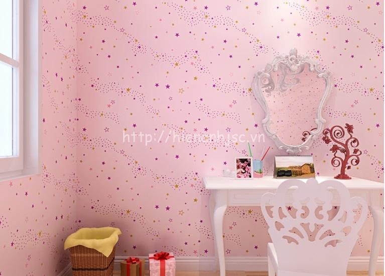 Giấy dán tường phòng trẻ em họa tiết trăng sao