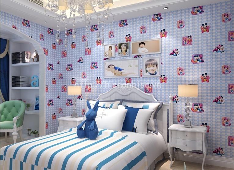 Giấy dán tường phòng ngủ trẻ em họa tiết chuột mickey