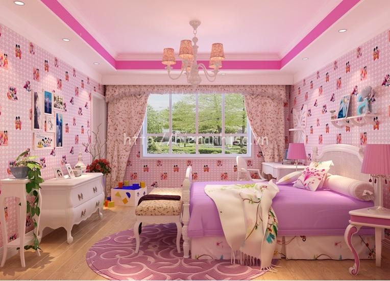 Giấy dán tường màu hồng họa tiết chuột mickey cho phòng ngủ bé - 3D072