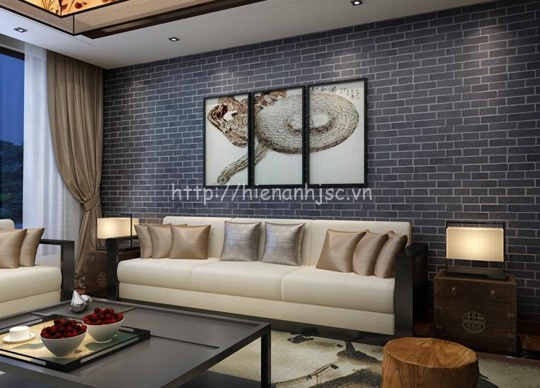 Giấy dán tường 3D giả gạch ở Hà Nội